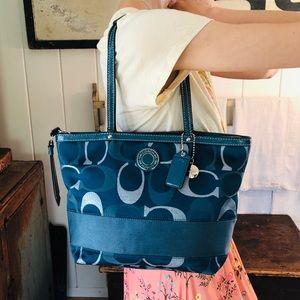 ♥️ Coach ♥️ Blue & Silver Tote Bag